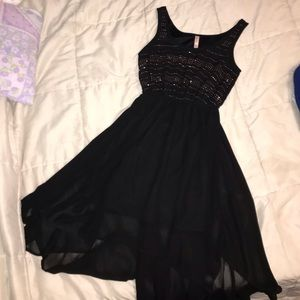 Sparkly Black Dress w/ High-Low Sheer Cover Skirt